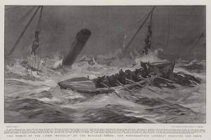 The Wreck of the Liner Mohegan on the Manacle Rocks, the Porthoustock Lifeboat Rescuing the Crew by Joseph Nash