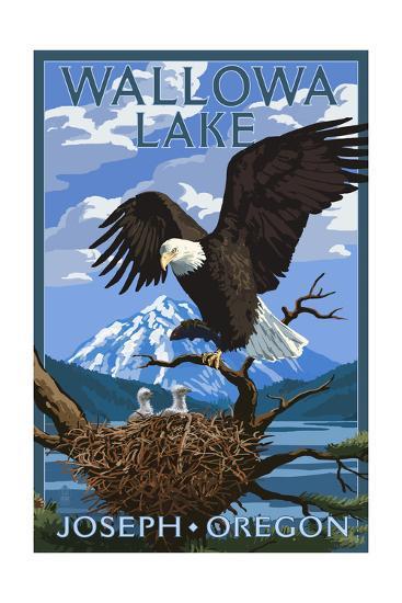 Joseph, Oregon - Wallowa Lake Eagle and Chicks-Lantern Press-Art Print