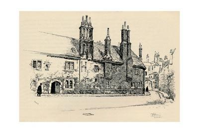 'Old Charterhouse: Exterior Façade of Washhouse Court, with the Inner Gateway', 1886