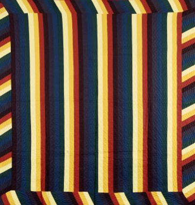 Joseph's Coat-Of-Many-Colours Patterned Coverlet, Pieced and Quilted Cotton, Circa 1890