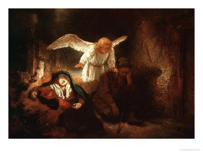 Joseph's Dream in the Stable in Bethlehem-Rembrandt van Rijn-Giclee Print