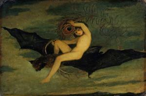 """Ariel - """"On the Bat's Wing Do I Fly."""", C. 1826 by Joseph Severn"""