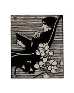 Bookplate of a woman reading by Joseph Simpson
