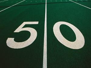50-Yard Line of Football Field by Joseph Sohm