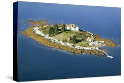 Aerial View of an Island and Lighthouse near Acadia National Park, Maine