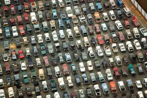 Aerial View of Wrecked Cars in Charlotte, North Carolina by Joseph Sohm