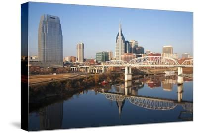 Nashville Skyline, Tennessee and the Cumberland River with River Reflection