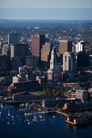 Sunrise Aerials of Boston Skyline and New England