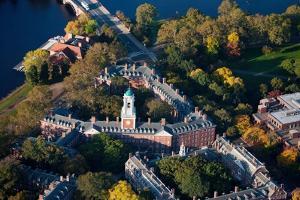 Sunrise Aerials of Eliot House Clock Tower, Harvard, New England by Joseph Sohm