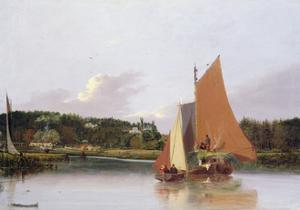 Boats on the Yare Near Bramenton, Norfolk, 1828 by Joseph Stannard