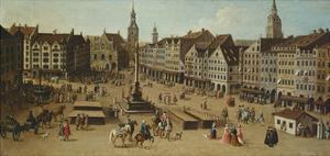 View of the Marienplatz, Munich, ca. 1750 (Detail) by Joseph Stephan