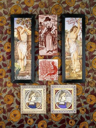 Two E. Smith Tiles with a Medieval Maiden, 20th Century