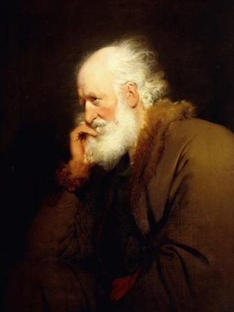 An Old Man, Half-Length, in a Brown Fur-Lined Coat by Joseph Wright