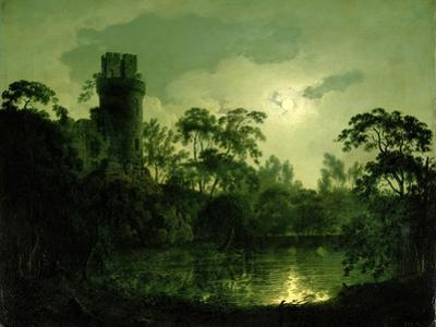 A Moonlit Lake by a Castle by Joseph Wright of Derby