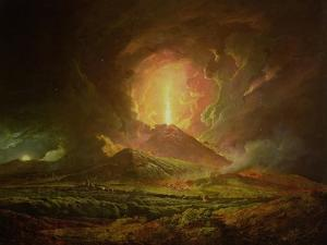 An Eruption of Vesuvius, Seen from Portici, circa 1774-6 by Joseph Wright of Derby
