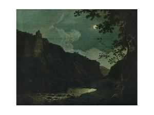'Dovedale by Moonlight', 1784 by Joseph Wright of Derby