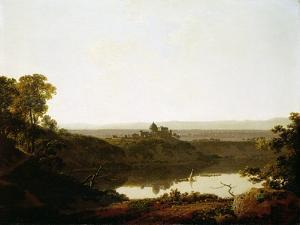 Lake Albano and Castel Gandolfo by Joseph Wright of Derby