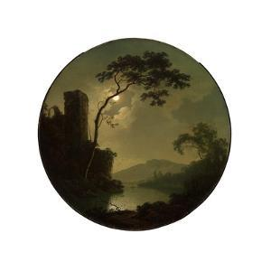 Lake with Castle on a Hill, 1787 by Joseph Wright of Derby