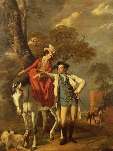 Mr. and Mrs. Thomas Coltman About to Set out on a Ride, Full Length by Joseph Wright of Derby
