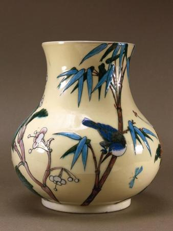 Vase Decorated with Chinese-Inspired Flowers and Birds by Joseph Wright of Derby
