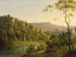 View in Matlock Dale, Looking Towards Black Rock Escarpment, C.1780-5 by Joseph Wright of Derby