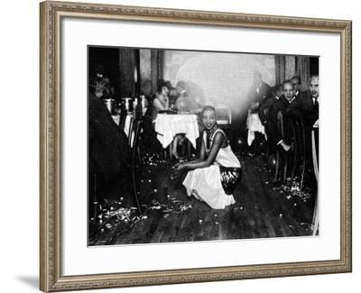 Josephine Baker (1906-75) at Her Bar in Paris, Surrounded by Admirers--Framed Photographic Print