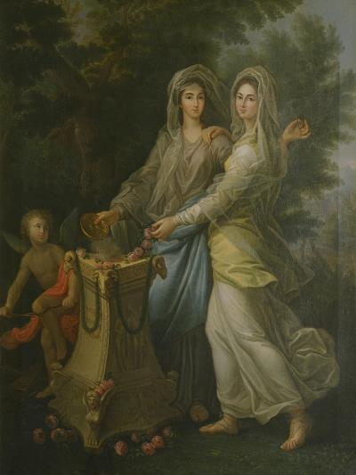 Josephine De Lorraine with Her Sister at the Altar of Friendship by Lorenzo Pecheux--Giclee Print