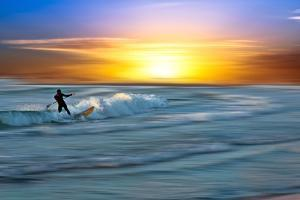 Coastal Scene with Surfer by Josh Adamski