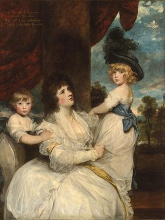 Portrait, Jane, Countess of Harrington, Sons, Viscount Petersham & Honorable Lincoln Stanhope, 1787