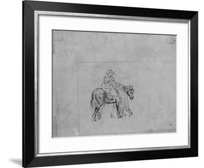 Joshua Shaw's Sketch of a Backwoodsman Putting His Wife on a Horse--Framed Giclee Print