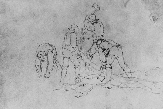 Joshua Shaw's Sketch of a Group of Men Chopping Wood--Giclee Print