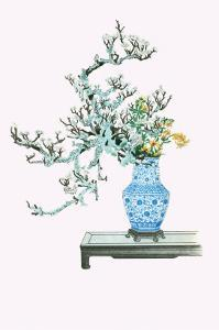 Yamanashi & Takejimayuri (Wild Pear And Lily) In a Blue And White Porcelain Vase by Josiah Conder