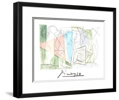 Jouer de Flute et Gazelle-Pablo Picasso-Framed Art Print