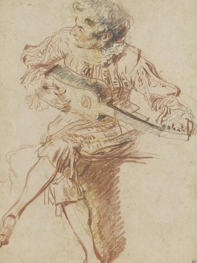 Joueur de guitare assis-Jean Antoine Watteau-Giclee Print