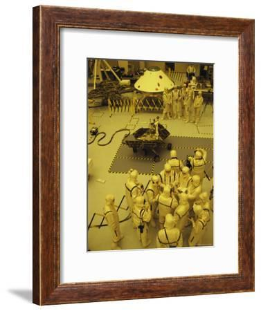 Journalists, Engineers and Technicians Examine a Robot in a Clean Room-Mark Thiessen-Framed Photographic Print