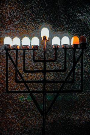 Big Synagogue Menorah, 2018, mixed media by Joy Lions