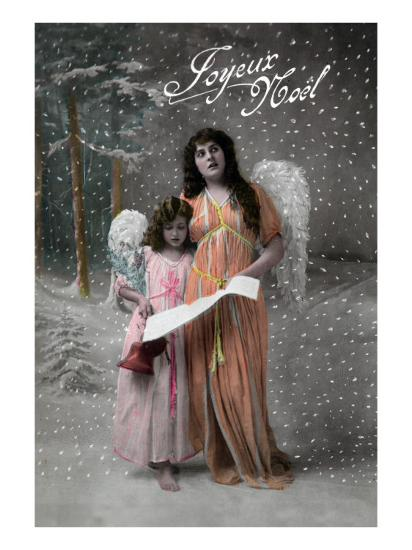 Joyeux Noel - Merry Christmas in French, Little Girl Carols with Angel-Lantern Press-Art Print
