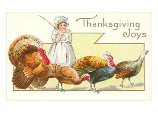Joys, Girl Herding Turkeys--Art Print