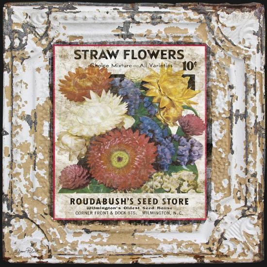 JP0543-Tin Tile-Straw Flowers-Jean Plout-Giclee Print
