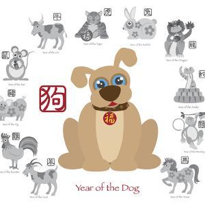 Chinese New Year Dog Color with Twelve Zodiacs Illustration by jpldesigns