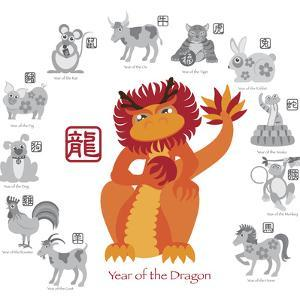 Chinese New Year Dragon Color with Twelve Zodiacs Illustration by jpldesigns
