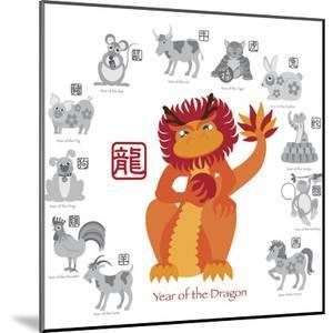 chinese new year dragon color with twelve zodiacs illustration