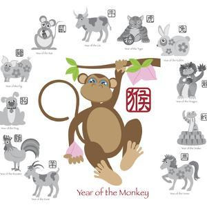 Chinese New Year Monkey Color with Twelve Zodiacs Illustration by jpldesigns