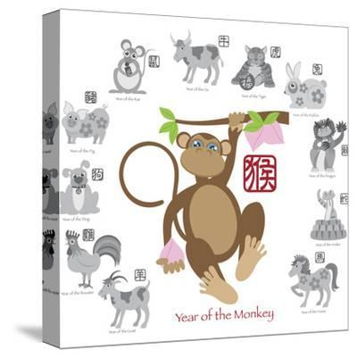 Chinese New Year Monkey Color with Twelve Zodiacs Illustration