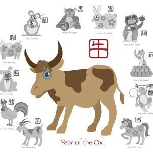 Chinese New Year Ox Color with Twelve Zodiacs Illustration by jpldesigns