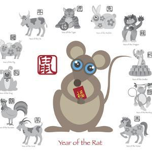 Chinese New Year Rat Color with Twelve Zodiacs Illustration by jpldesigns