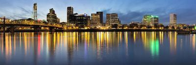 Portland Downtown along Willamette River at Blue Hour