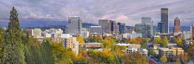 Portland Oregon Downtown Skyline with Mt Hood
