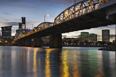 Portland Oregon Skyline under Hawthorne Bridge