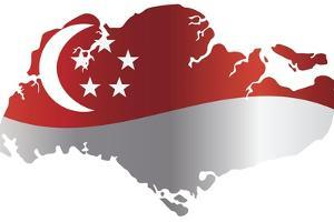 Singapore Flag In Map Silhouette Isolated Illustration by jpldesigns